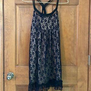 Strappy Little Black Lace Dress